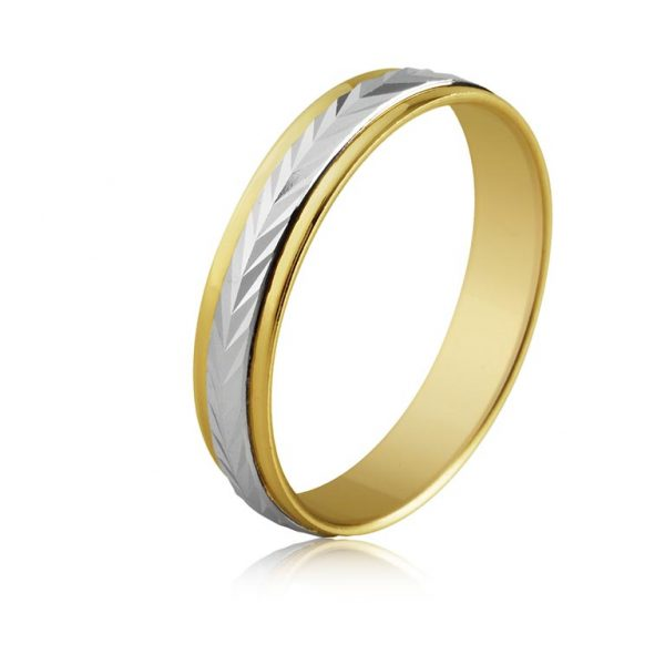 7dbb21948e93 Anillo alianza oro amarillo y oro blanco oro bicolor diseño central de  espiga