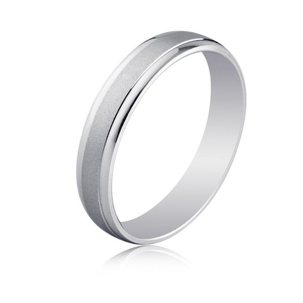 c3d43c8d6937 Alianza anillo oro blanco diseño brillo en laterales y parte central en  mate satinado