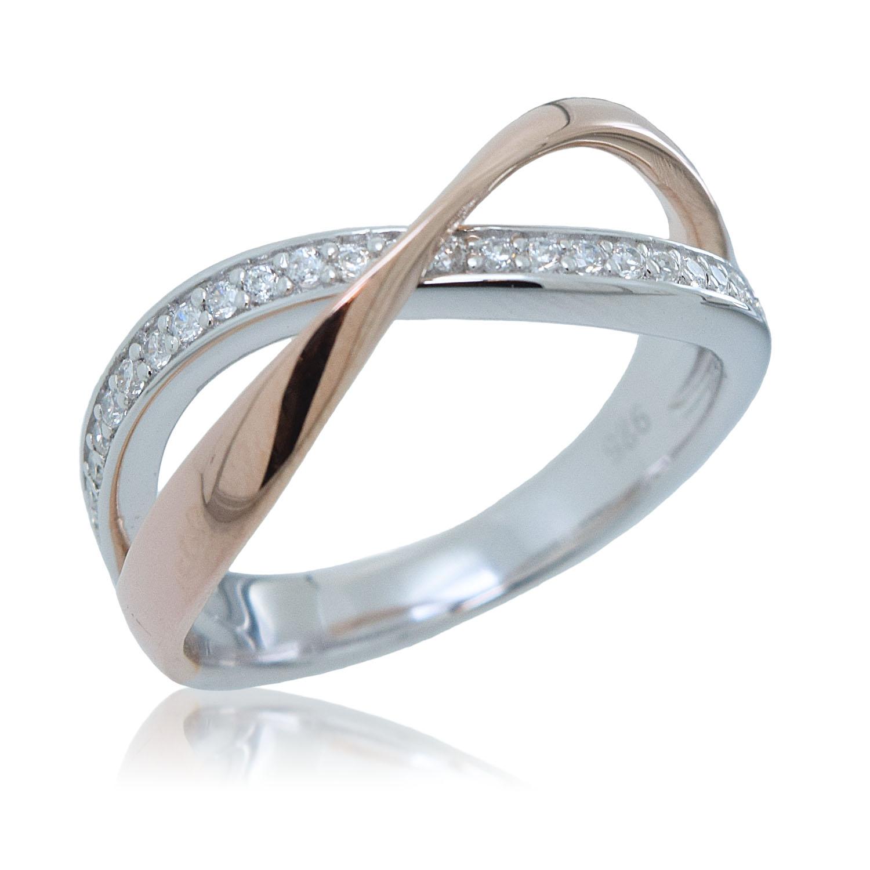 fca48eaea1f5 anillo plata bicolor cruzado jolfer - Joyas