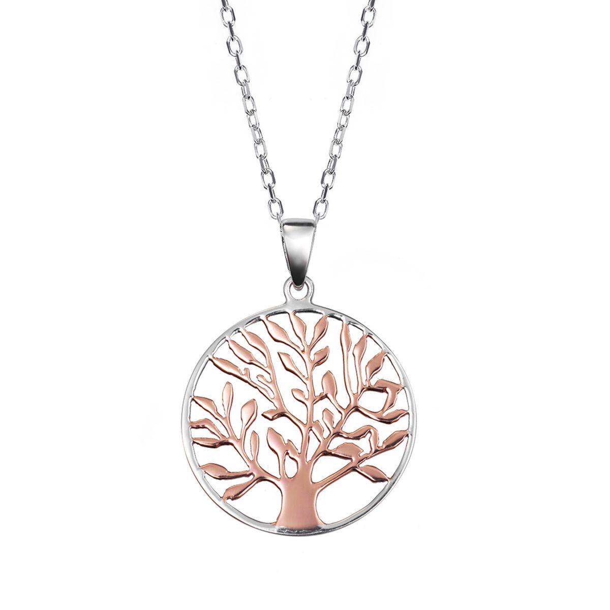 colgante arbol de la vida plata de ley bicolor rosa 0470369
