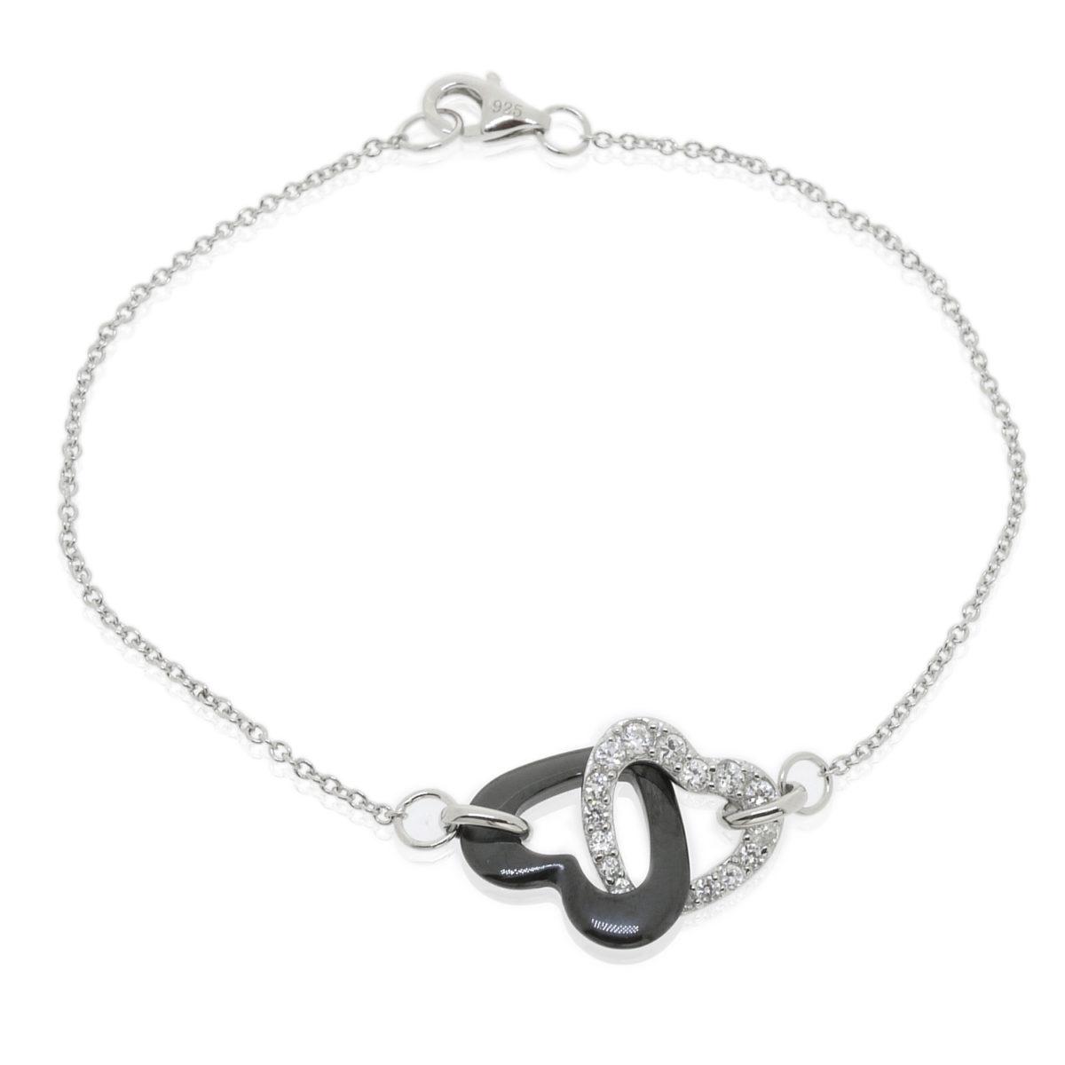 pulsera corazones plata de ley y cerámicaJBRQY6227KL-W