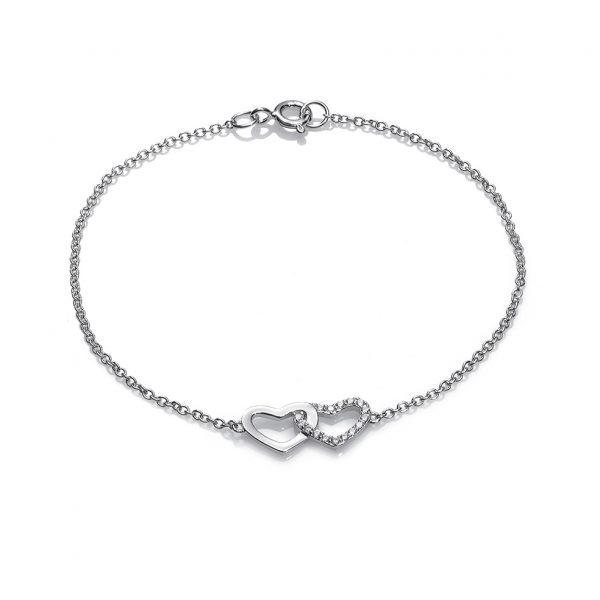 3eb6abfc9429 pulsera corazones entrelazados plata de ley lisa y circonitas jolfer