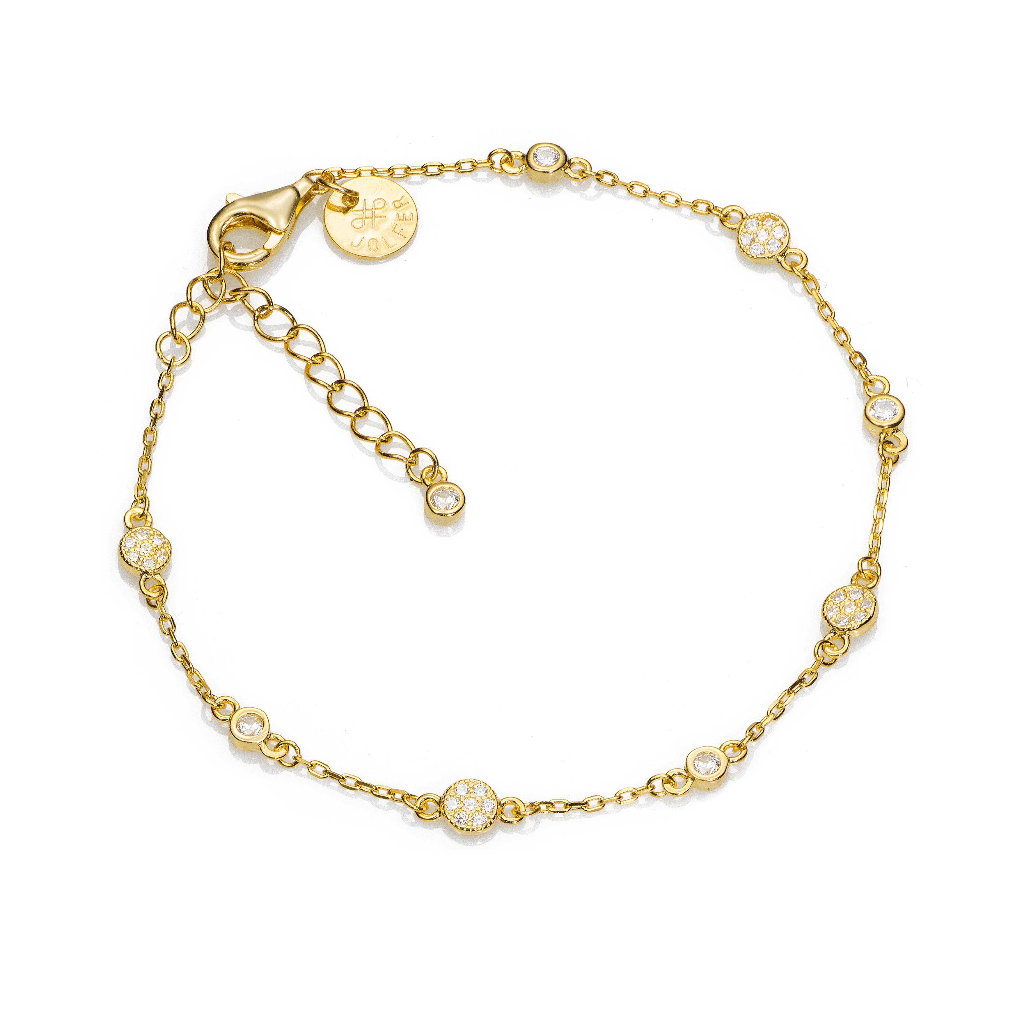 e2a2742f2793 pulsera jolfer joyeros plata de ley bañada oro amarillo circonitas 0556543
