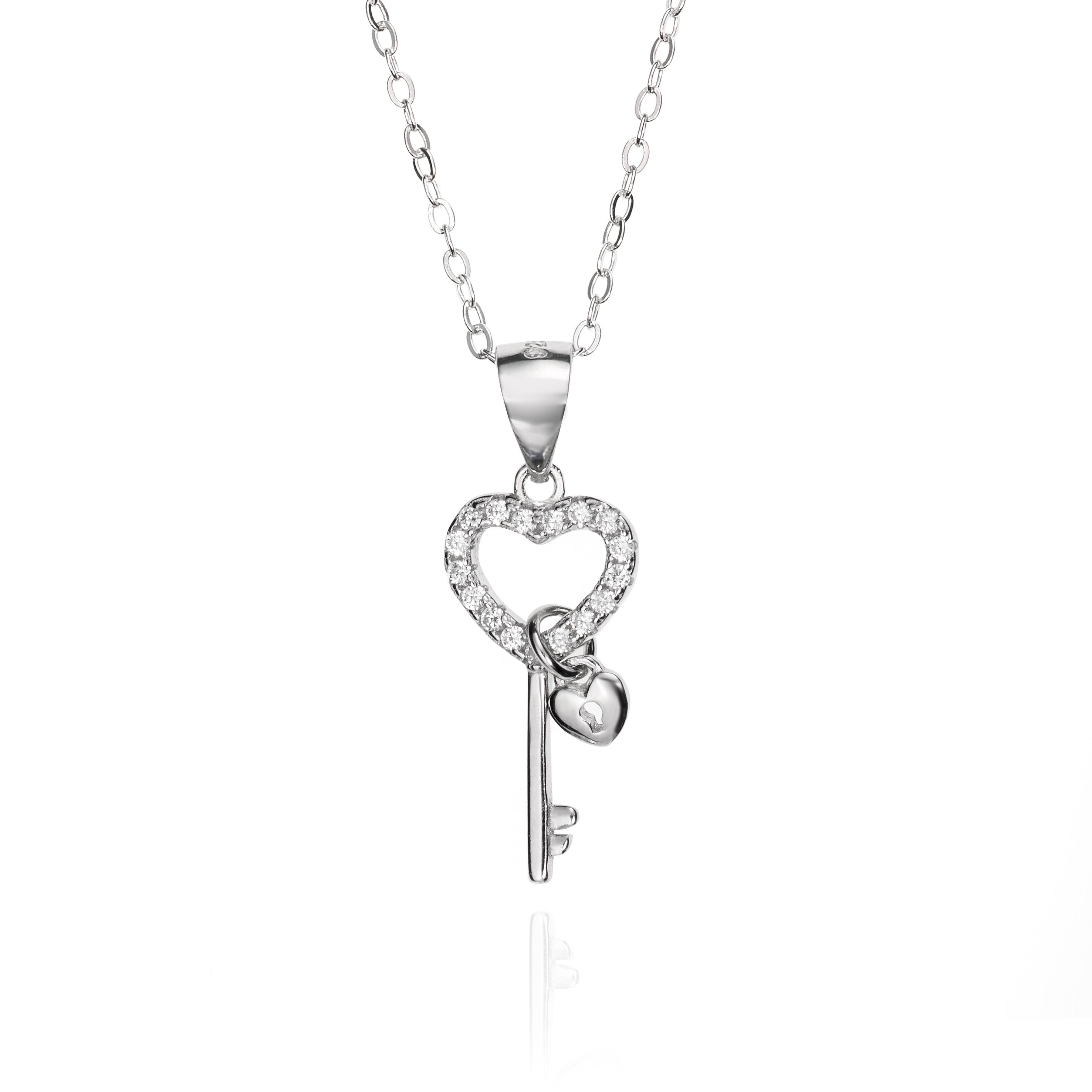 1106e36b8403 Llave con candado de corazón Plata de ley y Circonitas