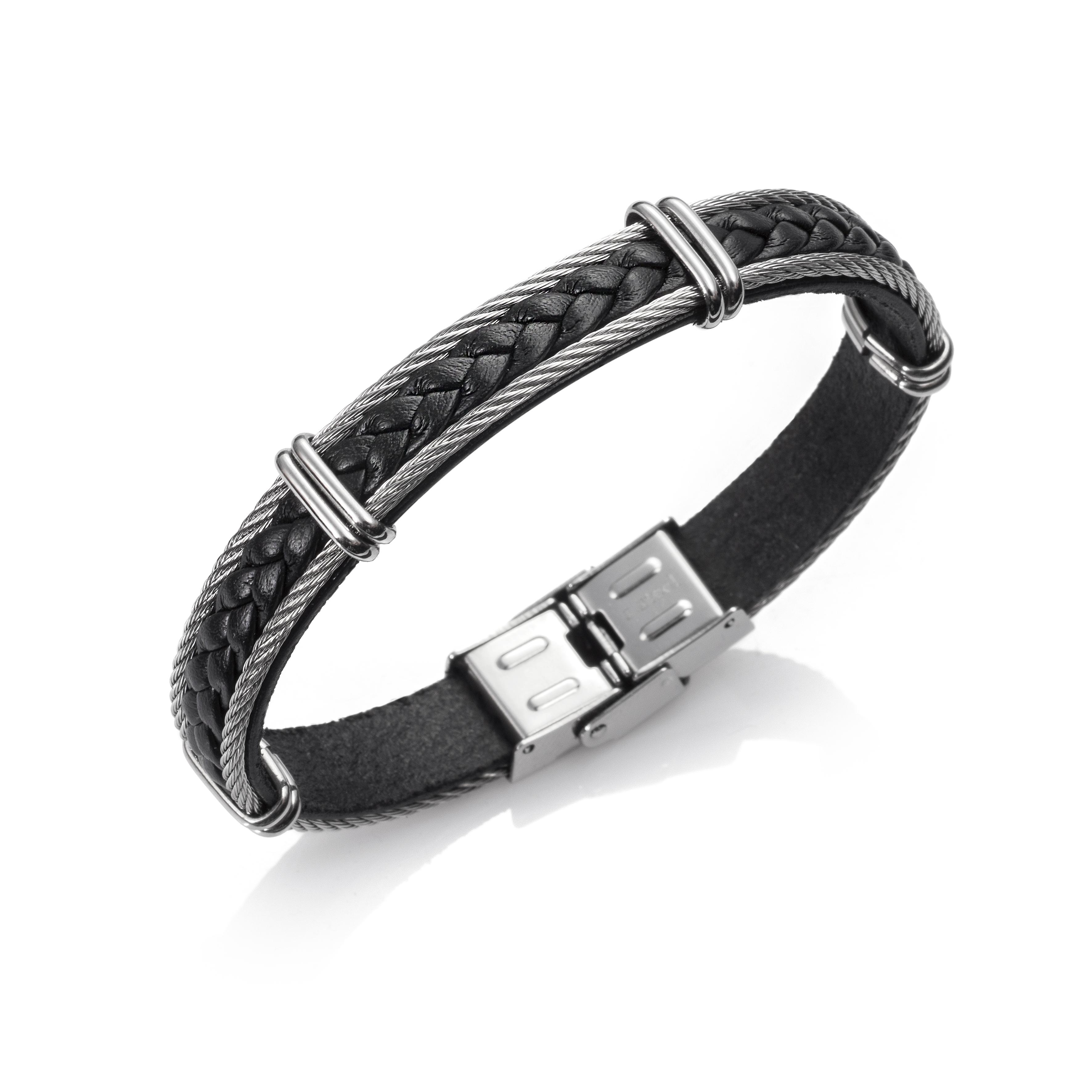 d61e70beee8d 0565506 - Pulsera caballero cuero y cable de acero inoxidable con cierre de  acero inoxidable jolfer